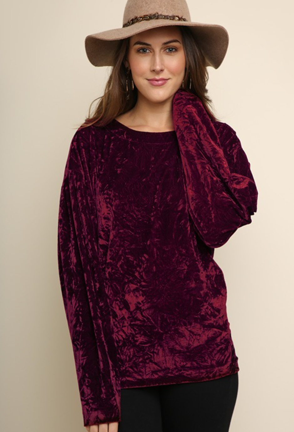 Wine long sleeve crushed velvet round neck top