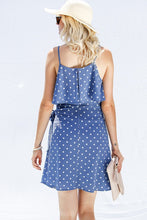 Blue polka dot ruffled layer spaghetti strap dress