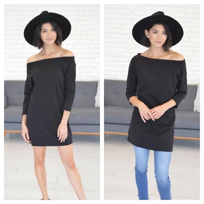 Black off shoulder dress/tunic