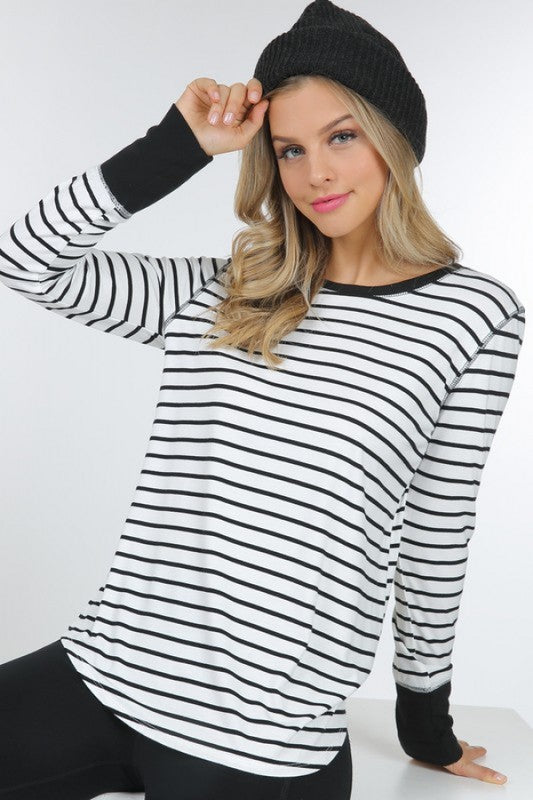 Long sleeve striped top with solid cuffs