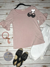 Ruffle sleeve top in Blush and Denim