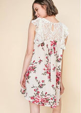 Cream mix floral print crochet lace dress