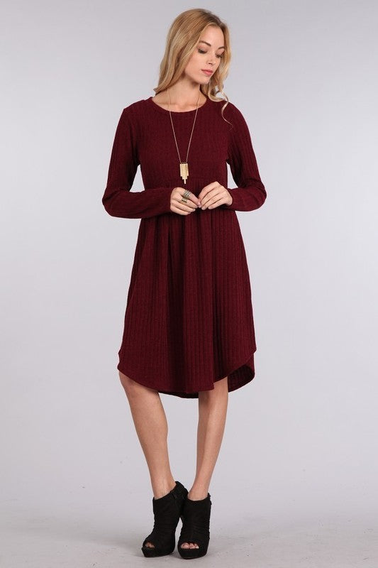 Wine sweater rib baby doll dress