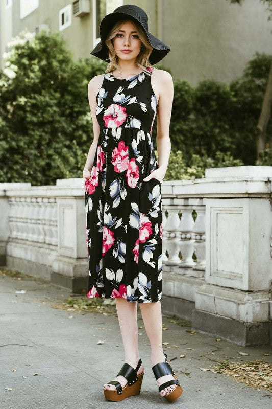 Sleeveless racerback floral midi dress