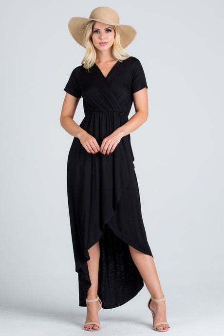 Maxi dress with surplice neckline, short sleeves