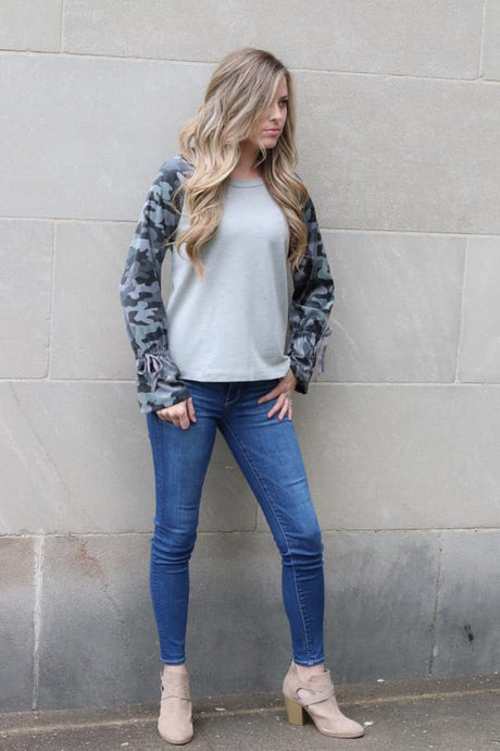 Camo top with bell cuffs