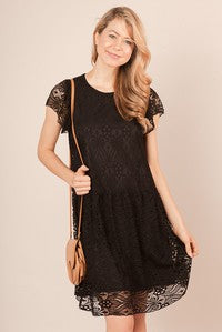 Black round neck lace dress with ruffle sleeve