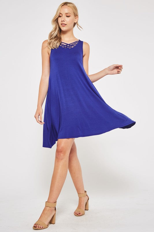 Swing Dress with criss-cross detail