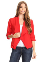 Open front blazer with ruched sleeves