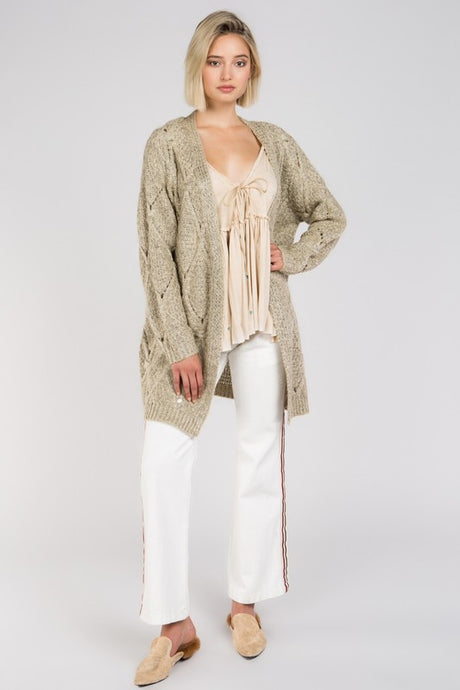 Taupe Cardigan with diamond eyelet