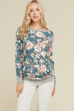 Floral french terry sweater in jade green