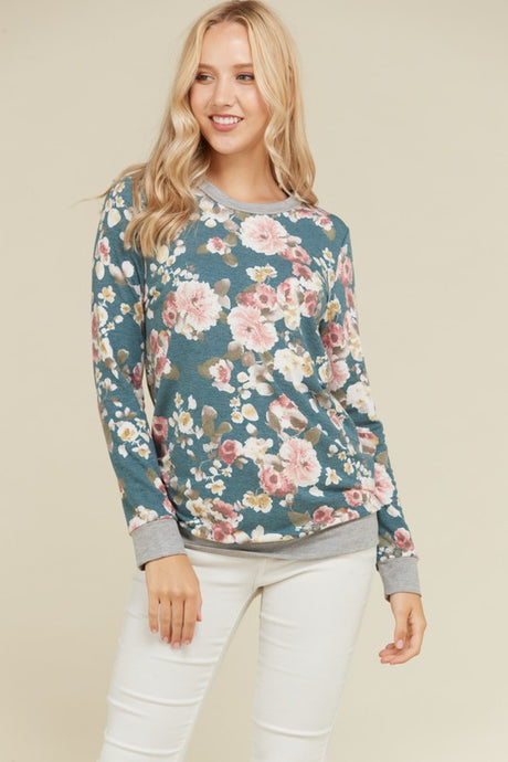 Jade green Floral french terry sweater in jade green