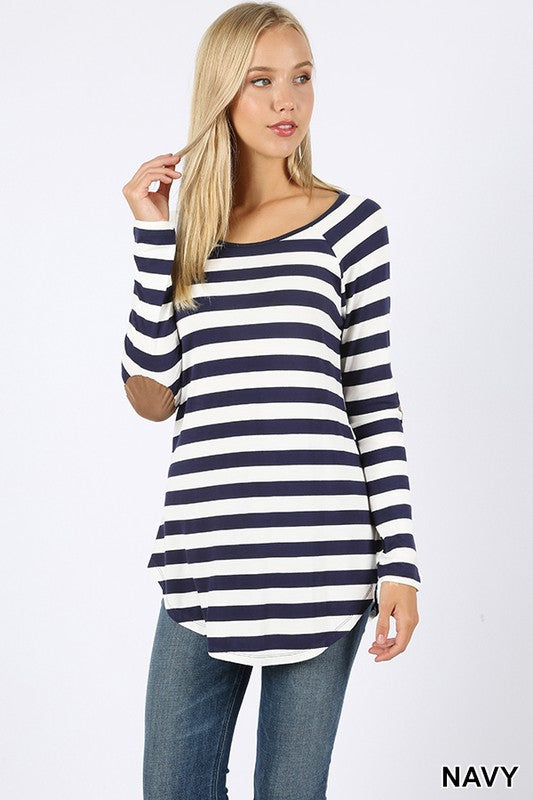 Navy striped long sleeve boat neck top with elbow patch