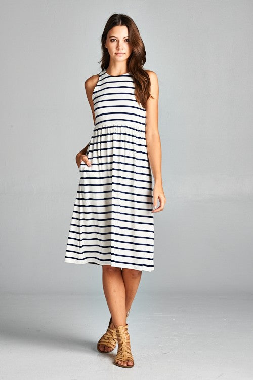 Black and ivory striped racer back dress