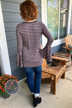 Navy striped bell sleeve top