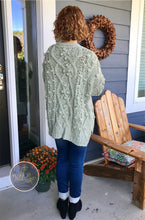 Handmade sage button up cardigan