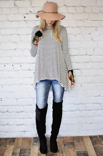 Stripe top with floral cuff