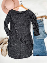 Charcoal Wrap Sweater with thumbholes.