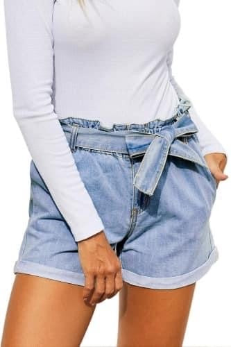 Jean belted shorts