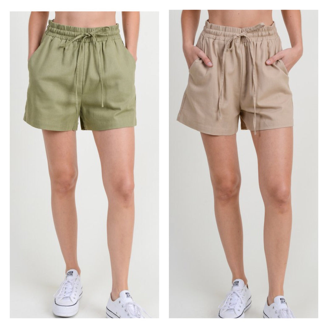 Olive or Taupe washed linen shorts with elastic waist band