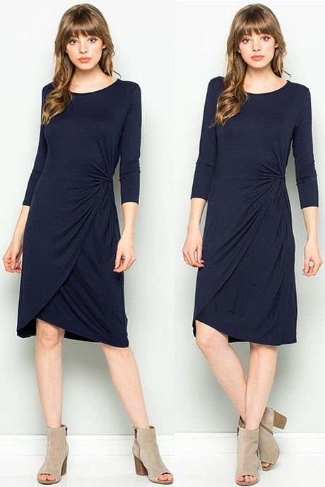 Navy 3/4 sleeve dress with side twist
