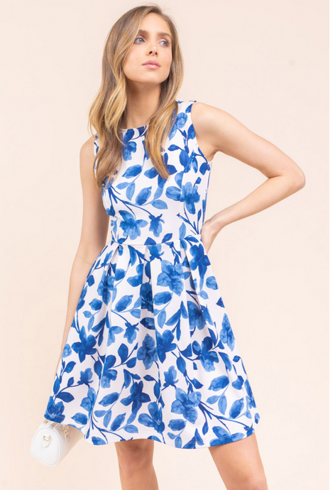 Blue/white fit and flare dress