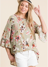 3/4 Sleeve Gauze Floral Top