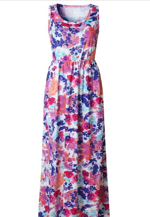 Floral sleeveless maxi-dress