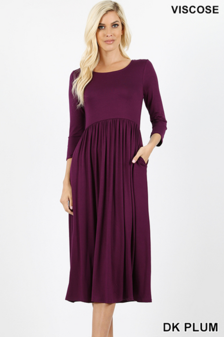 3/4 sleeve dress in dark plum and teal