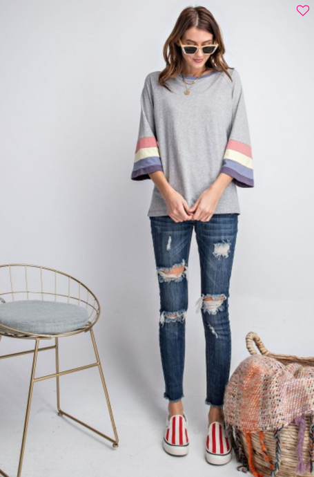 Heather grey top with striped sleeves