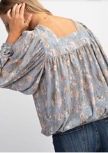 Blue grey floral top
