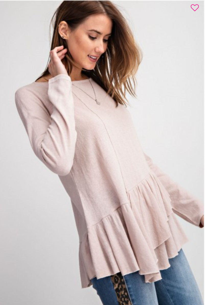 Mauve top with diagonal ruffle hem