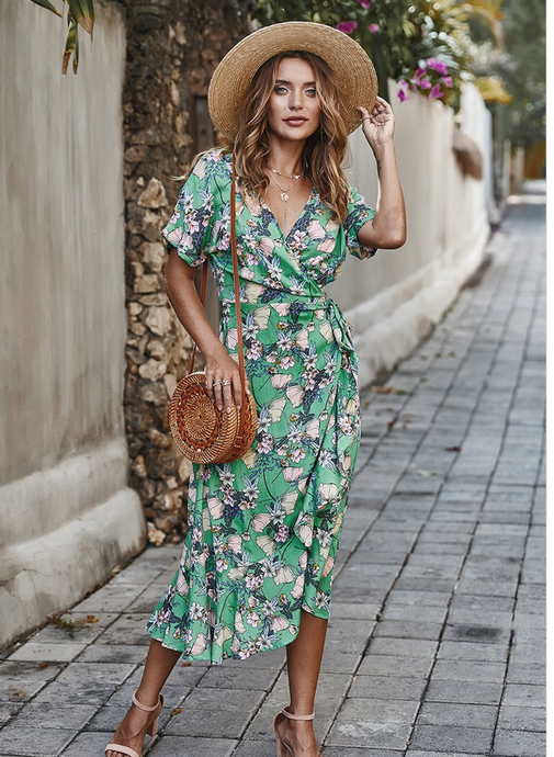 Green flower wrap dress