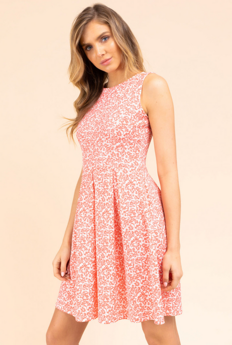 Coral/white Fit and Flare Dress