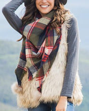 Plaid Scarf with pom poms