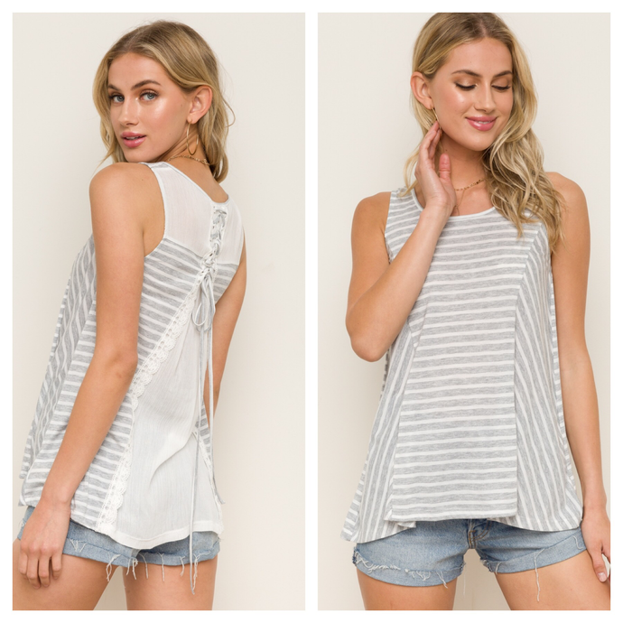 Heather grey/white striped tie back top