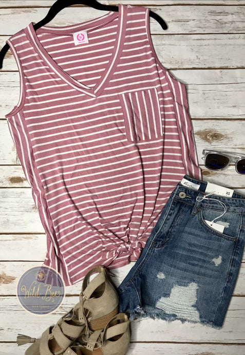 Stripe tank top with front tie