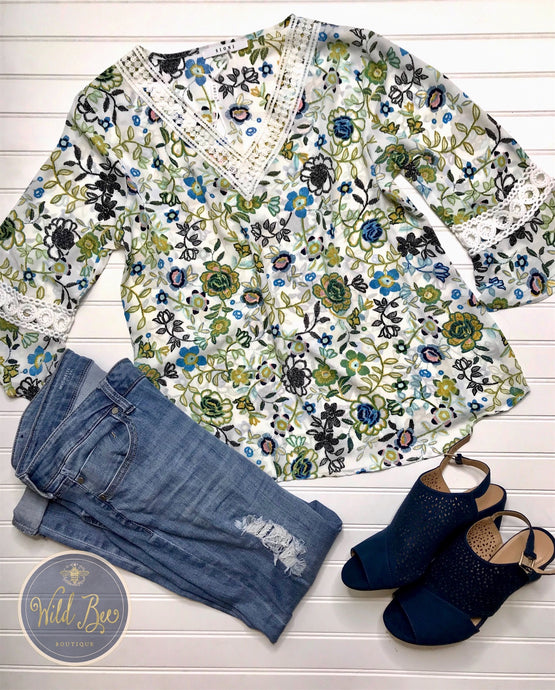 Floral and lace tunic