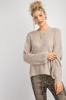 Oatmeal Bishop Sleeve Sweater with Embroidered Detail