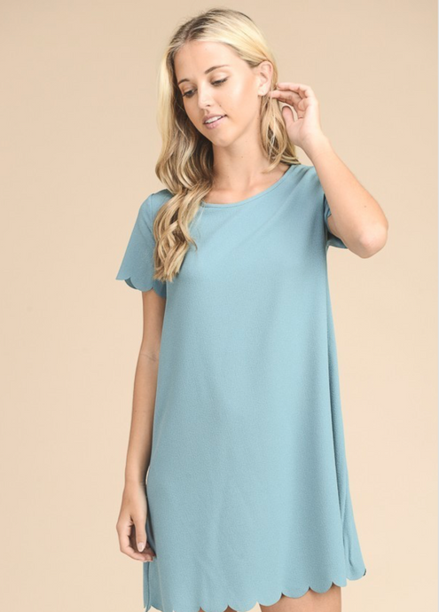 Mineral blue solid short sleeve scalloped hem and sleeve detail dress
