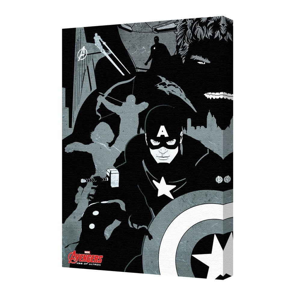 Avengers Black And White Marvel Stretched Canvas 24x36