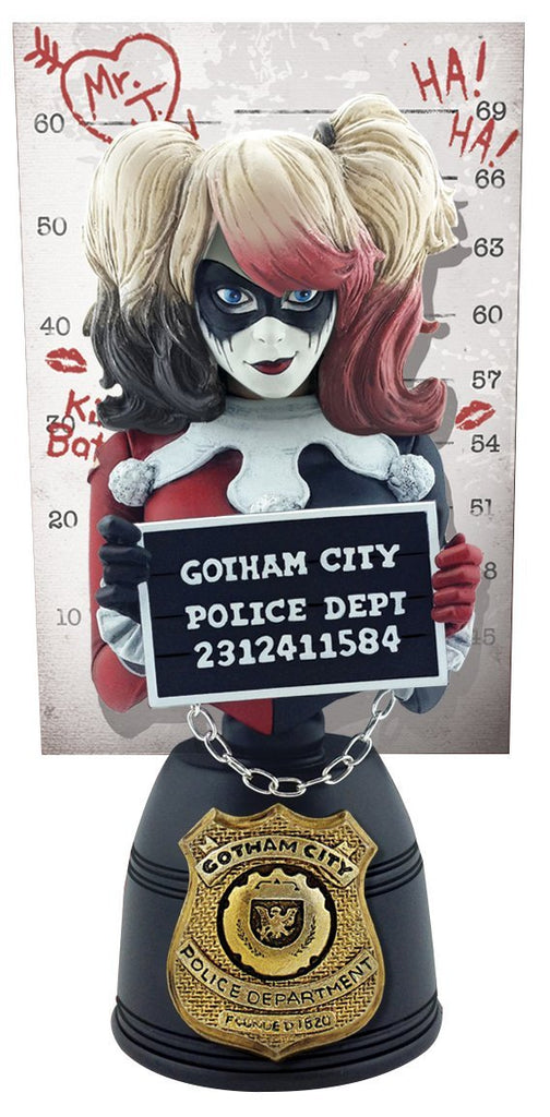 Cryptozoic DC Comics Harley Quinn (Red & Black Edition) Mugshot Bust
