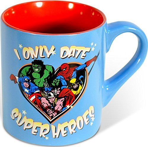 Silver Buffalo Marvel Comics - I Only Date Superheroes - Ceramic Mug, 14 Ounces, Multicolored