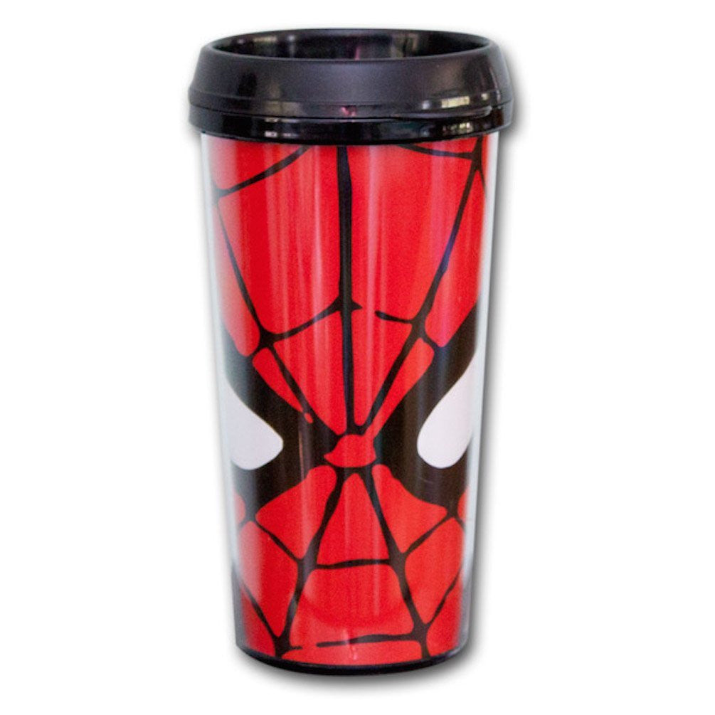Marvel Comics Spider-Man Web Face Big Eyes Travel Mug Snap Close Lid Licensed
