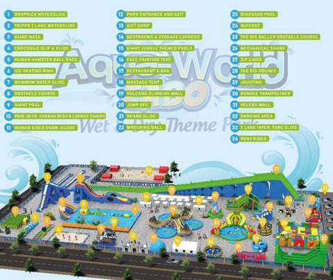 layout and map of Aqua-World Cabo waterpark