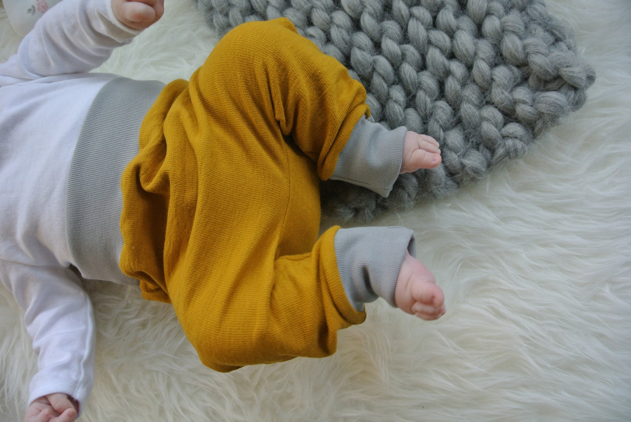 Mustard organic sweat baby / children's harem trousers