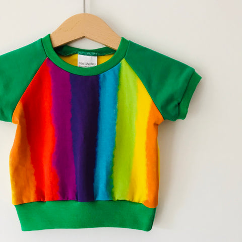 Green rainbow squiggle baby top