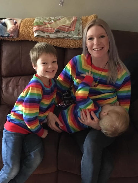 Rainbow stripe baby / children's sweater