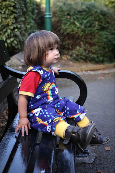 Swallows and rainbows baby / children's harem dungarees