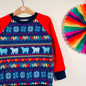 Blue polar bear fair isle sweater
